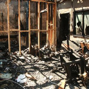 The charred interior of the former health centre in Carnew, which was destroyed in a blaze last Wednesday morning