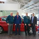 Neville Byrne, Michael Doyle, Pat O'Brien and Mick Humby at the announcement of Vartry Garage sponsorship.