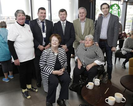 At the launch were: Gertie Salley, Arklow Municipal District cathaoirleach Cllr Tommy Annesley, Cllr Pat Kennedy, Cllr Pat Fitzgerald and Minister Simon Harris, and, in front, Mary O'Rourke and Cllr Miriam Murphy