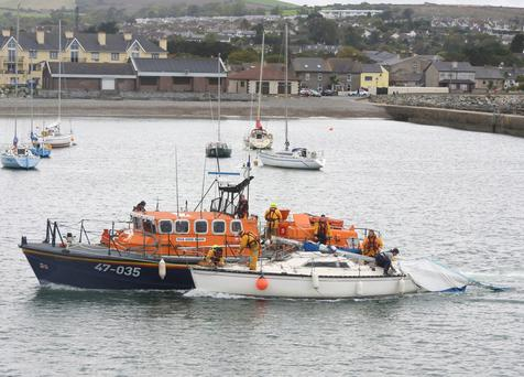 Wicklow RNLI towing the yacht. (Photo: Wicklow RNLI)