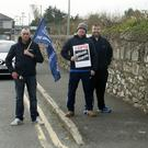 Iarnród Éireann staff on strike at Arklow Train Station last Wednesday.