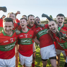 Rathnew's Theo Smith, Leighton Glynn, Warren Kavanagh, James Stafford, Damien Power, Graham Merrigan and Enan Glynn celebrate beating St Vincent's in the Leinster club championship in Joule park, Aughrim. Picture: Garry O'Neill