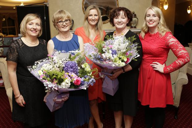 Shiela Clancy, Maria De Courcy, Irene Cosgrove, Catherine Higgins and Niamh Ní Bhroin at the retirement party in the Glenview Hotel.