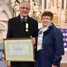 Paddy and Ailish Whelan receiving the Benemerenti medal.