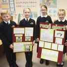 Ruairí Philips, James McCann, Elsha O'Reilly, Bluebell Dynes and Luca Nolan from Wicklow Montessori with their road safety project