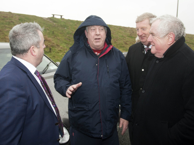 Arklow man Pat Fortune making his point to Minister Moran, Deputy Pat Casey and Cllr Pat Fitzgerald at Arklow's North Beach