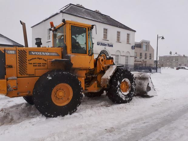 The streets being cleared in Blessington on Friday afternoon