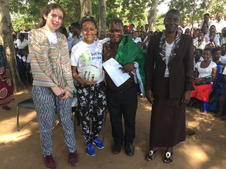 Roisin Byrne (left) and Alanna Davidson-Gahan (right) pictured at Ulongwe secondary school, Balaka district, Malawi.