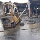 Some of the machinery and buildings damaged by the fire