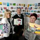 Nurse Joanne Doyle,Hugo Jellett and Fiona Callaghan, Jack & Jill's liaison nurse for Co Wicklow, at the launch of the Incognito artwork.