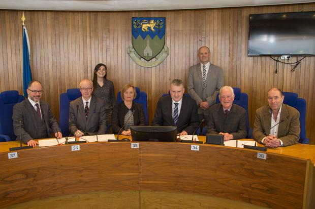 The Chair of Wicklow LCDC, Cllr Grainne McLaughlin, along with LCDC Chief Officer, Michael Nicholson, and Chief Executive of Wicklow County Council, Frank Curran, with representatives from Bray Area Partnership and County Wicklow Partnership