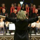 Dara McMahon gets all the choirs singing together for the grand finale at a previous Wicklow Sings Choral Festival