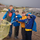 Ruairí Keating, Sadhbh Keating, section leader Kevin Godden, Conor Mc Evoy, Oliver Deasy and Matthew Godden during the clean-up by the Beavers from the 4th Wicklow Sea Scouts