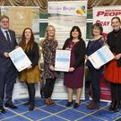 Ciaran Byrne from Wicklow Hospice; Brian McNamara from the Glenview Hotel; Mary Fogarty from the Bray People; Sinead Tarmey from Wicklow Hospice, Theresa O'Brien and Deirdre Whitfield from Wicklow County Council; Emma Stafford from the Wicklow People and Bray People; and Bill Porter from Wicklow Hospice at the launch of the 2018 County Wicklow People of the Year Awards in the Glenview Hotel