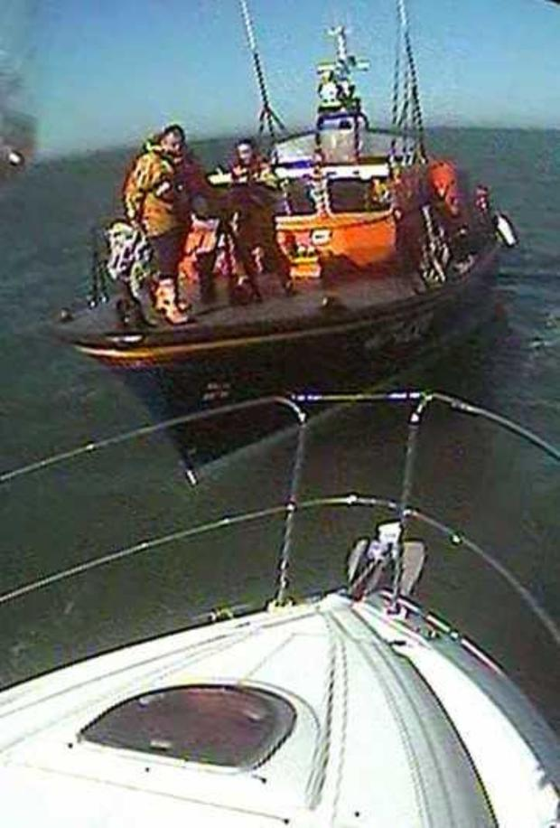 Wicklow RNLI assisting a stricken cruiser on Sunday