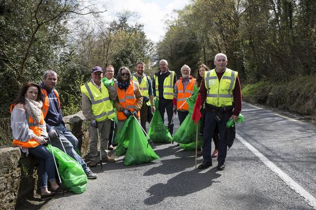 Volunteers cleaning up on the outskirts of Aughrim