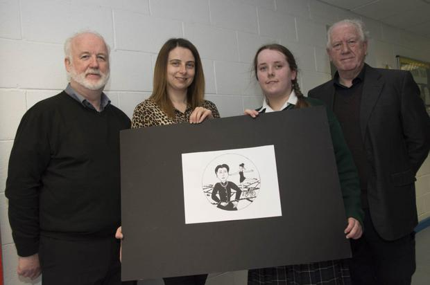 Michael Doyle from Blessington Forum, Sinead O'Brien from the Sinead O'Brien School of Dance, Niamh Grace from Blessington Community College with the logo she designed for the festival, and Vincent McCabe from Interpretive Artists Ireland
