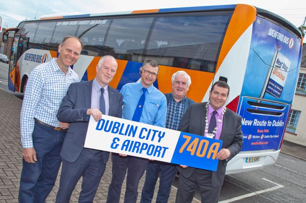 Cllr Sylvester Bourke, Brendan Crowley MD Wexford Bus, Seamus Roche Wexford Bus Driver, Cllr Pat Fitzgerald and Tommy Annesley, Cathaoirleach of Arklow Municipal District at the launch of the new bus route