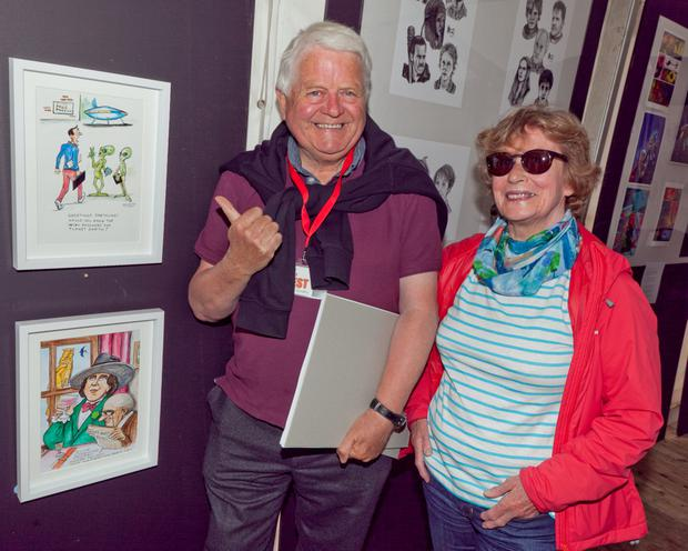 Don Conroy and his wife Gay with Don's exhibit
