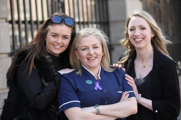 IBD patient Aoife Mulhall from Bray (right) with fellow patient Clara Caslin and specialist nurse Angela Mullen.