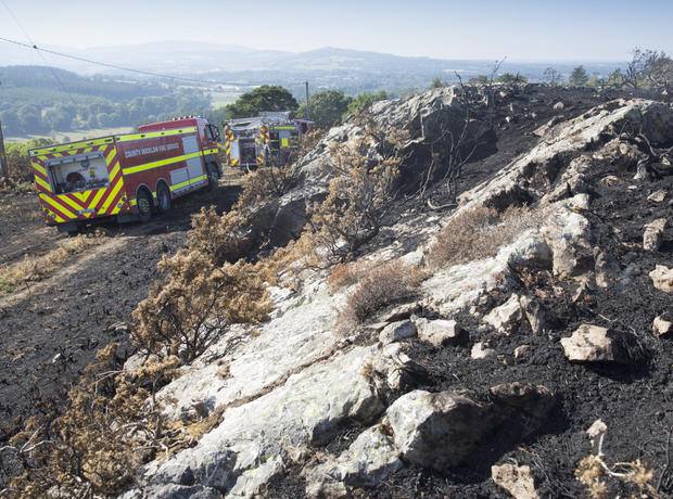 Fire crews from Greystones attending an on going ground and gorse fire at Windgates on Friday