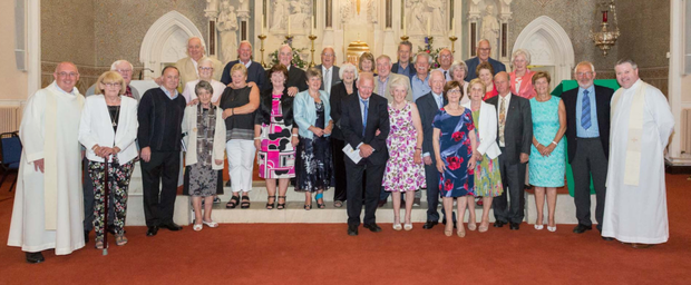 Parishioners celebrating their golden wedding anniversaries at the Parish of Wicklow and Rathnew wedding anniversary Mass