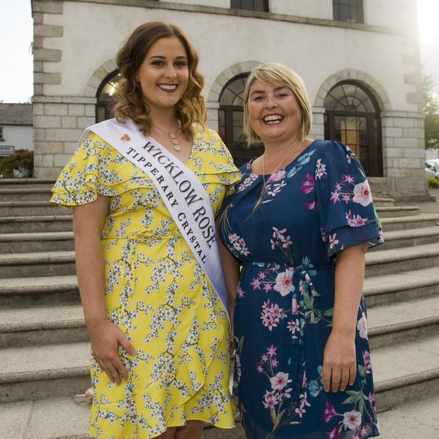 Wicklow Rose Lorna Mallick with Sandra Maher, organiser of the Tinahely Show Queen competition.