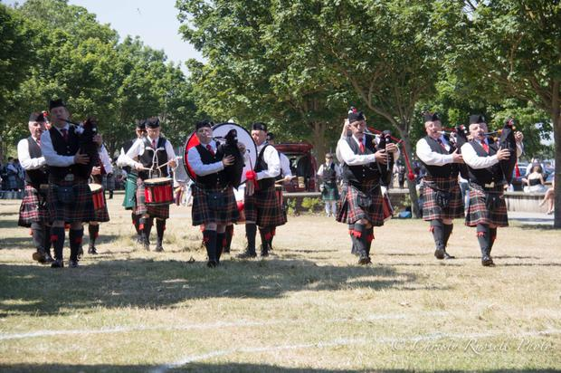 The Wicklow Pipe Band perform at the All-Ireland Pipe Band Championship.