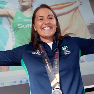 Elena Tice shows off her Hockey World Cup silver medal at her homecoming in Glenealy Hall