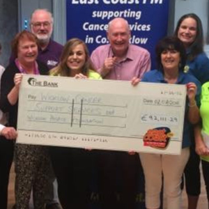 East Coast FM's Declan Meehan celebrates the handover of more than €90,000 to local cancer support centres and the Wicklow Hospice Foundation