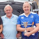 John McCaul and (centre) race sponsor Major Brennan with the top three in the Senior Brennan Cup: Hana Blake (second), Colm Corrigan (first) and Ross Beacom (third)