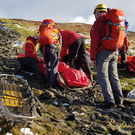 Members of Glen of Imaal Mountain Rescue respond to an injured walker