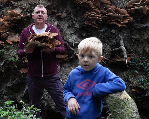 Barry Reid pictured with his son Brehon with a foraged meripilus giganteus mushroom
