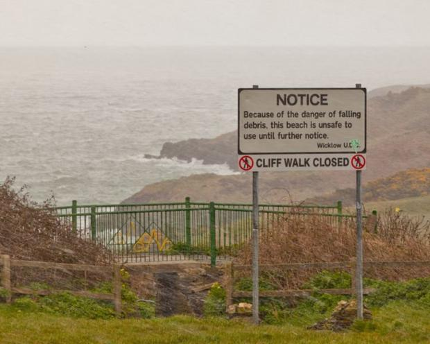 The closed cliff walk in Wicklow town