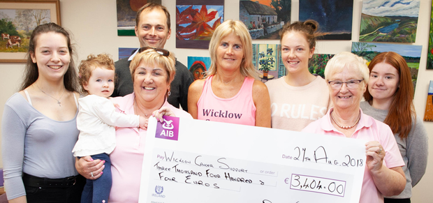 Cheque presentation of €3,404 to Wicklow Cancer Supportfrom the recent Family 5k Walk: Ellen Doyle, Pauline Leonard with Granddaughter Stella Leonard, Mick O'Brien, Liz Doyle, Hannah Gormley, Eileen Earls and Carla Byrne