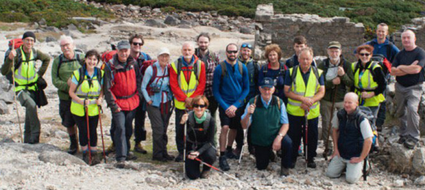 The group who were guided through the former mining sites of the Wicklow Uplands