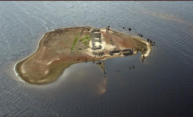 An aerial photographs of the reservoir in recent days.