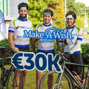 Emmet Wardell from Tinahely, Peter Campbell from Bray and David Noronha from Greystones, who took part in the 400km SSE Ireland Charity Cycle which raised almost €35,000 for Make-A-Wish