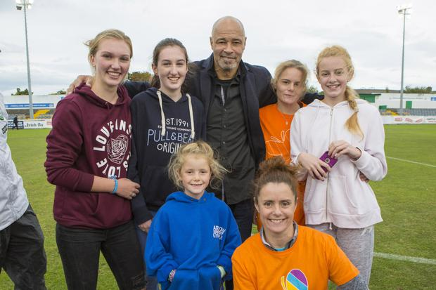 Paul McGrath with fans in the Carlisle Grounds.