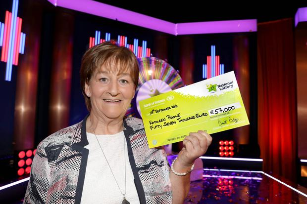 LEFT: Kathleen Poole from Rathdrum, who spun the wheel and won €57,000 on her second appearance on Winning Streak.