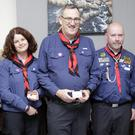 Nora Kennedy, Susan Rice, Dave Fennessy and Fiona Byrne from 7th Wicklow receive their service awards from Dermot Moore (second from right) at the Cill Mhantain Scouts AGM
