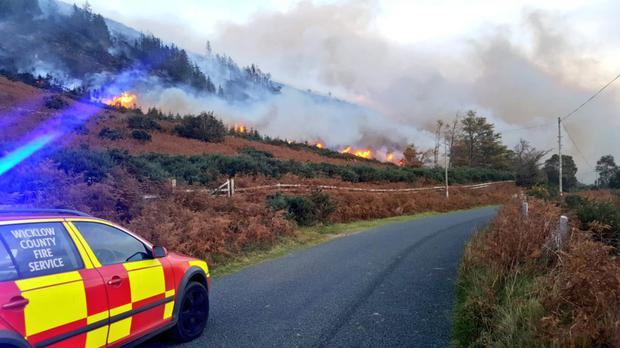 Wicklow Fire Service responding to the fire at Glenmacnass.