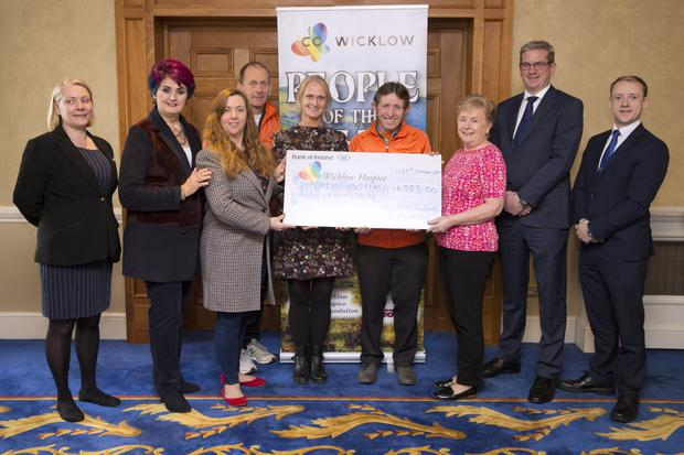 Josephine McDonald from the Glenview Hotel; Tina Koumarianos; Mary Fogarty, Bray People; Ciaran Byrne, Sinead Tarmey and Bill Porter from Wicklow Hospice; Mary Tuitefrom Wicklow County Council; and Brian McNamara and Karl Quinn from the Glenview at the cheque presentation.