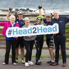 Wicklow cyclists Myles Barnes, Joan Green and Stephen Bell with Interim CEO of Jack & Jill, Carmel Doyle, nurse Eilín Ní Mhurchú and Vincent Mulvey, Bank of Ireland Chief Risk Officer