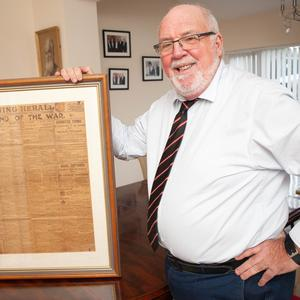 David Tarrant with his copy of the Evening Herald from Armistice Day – November 11,1918