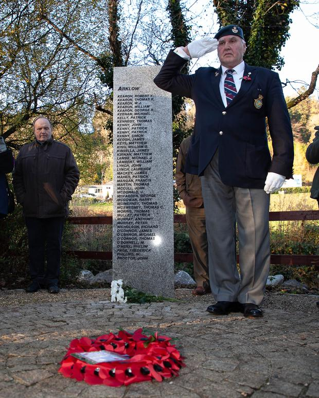 Pete McWilliams lays a wreath in memory of fallen Wicklow soldiers