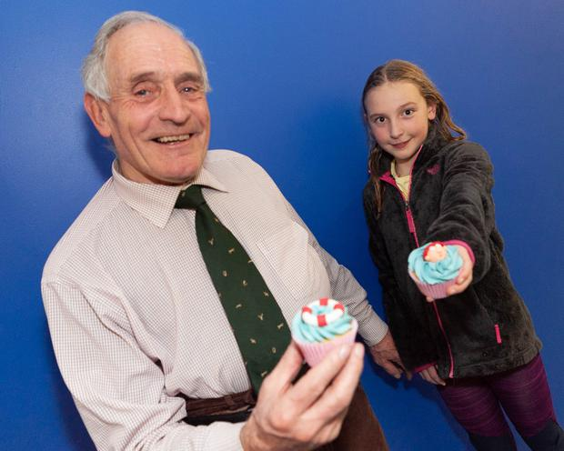 Rosie Coad with her granddad Michael Ryan at her special celebration in the Coral Leisure Centre, Wicklow town