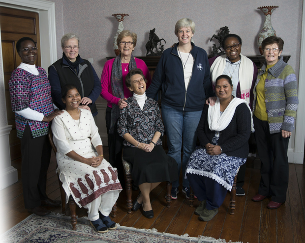 Loreto sisters at the end of their formation in Bray. Back: Sister Lucy Nderi, Sister Zofia Rusnakova, Sister Chris Goodman, team leader Sister Orla Treacy, Sister Veneranda Lusuli and team leader Sister Margo Mulvey. Front: Sister Anima Kujur, Sister Genevieve Maigrot and Sister Gloria Lakra