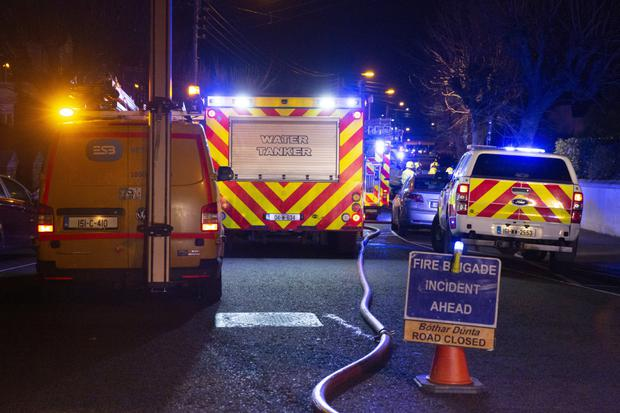 Emergency services at the scene on Galtrim Road