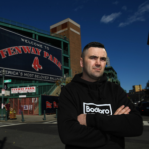 Wicklow town garda Niall 'Basil' Kennedy outside Fenway Park, home of the Boston Red Sox, last October